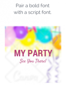 Pair a bold font with a script font