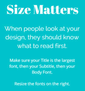 Take care of font size