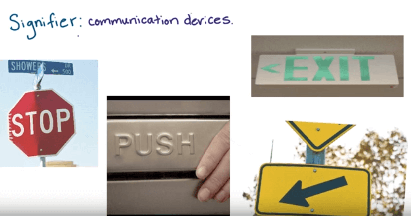 Signifiers are communication devices