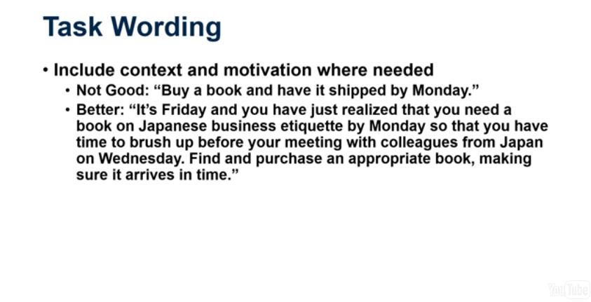 Task wording: context motivation
