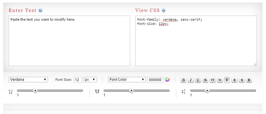 CSS Type Set Code Generator