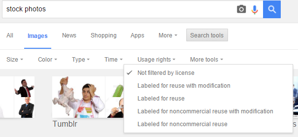 Search for stock photos on Google
