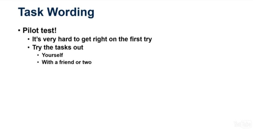 Task wording: pilot test