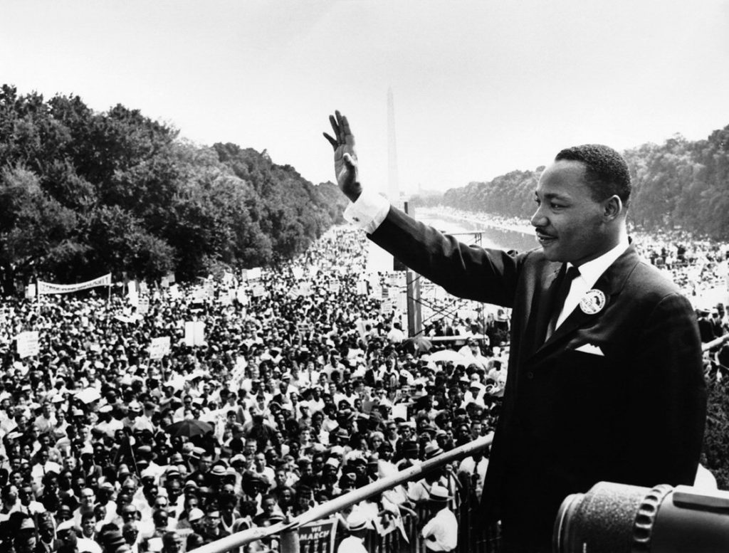 Martin Luther King is having a speech